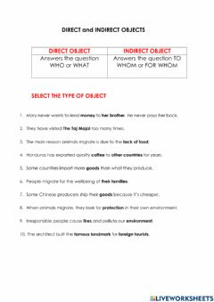 Interactive worksheet Direct or indirect objects
