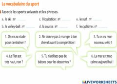 Interactive worksheet Sport