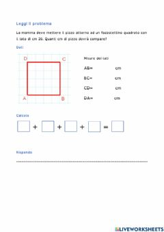 Interactive worksheet perimetro quadrato