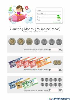 Interactive worksheet Counting Money in Peso (HuntersWoodsPH Math)