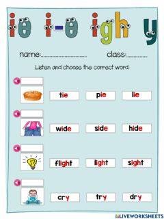 Interactive worksheet Jolly Phonics ie i-e igh y