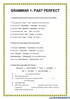 Interactive worksheet Past perfect and crime vocabulary