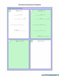 Interactive worksheet Inverse Functions Practice