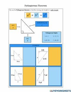 Interactive worksheet Pythagorean Theorem Notes