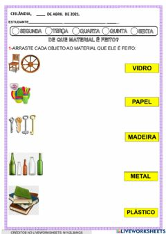 Interactive worksheet Tipos de materiais
