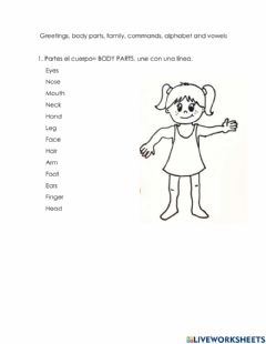 Interactive worksheet Body part, famyly, commands