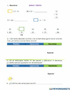 Interactive worksheet Sumas y restas