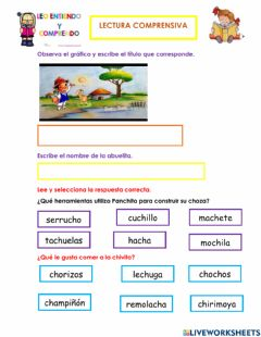 Interactive worksheet Comprensión Lectora Fonema Ch-ch