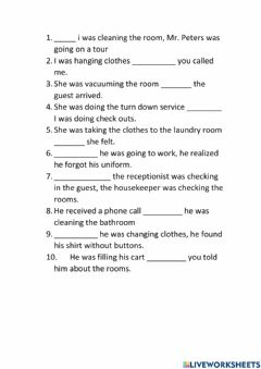 Interactive worksheet Housekeeping while - when