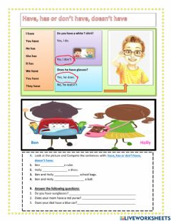 Interactive worksheet Have, has or don't have ,doesn't have