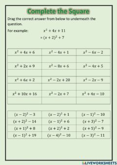 Interactive worksheet National 5 - Complete the Square