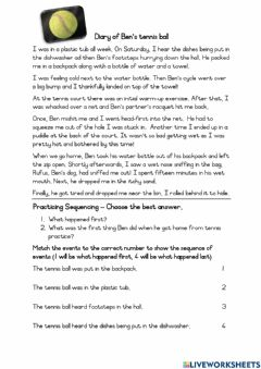 Interactive worksheet Diary of Ben's Tennis Ball