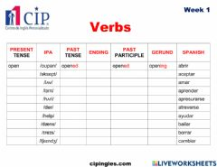 Ficha interactiva Verbs and Useful Expressions Week 1