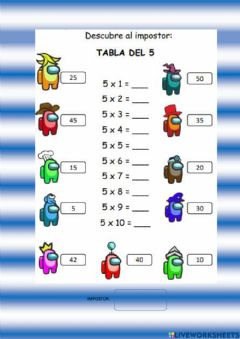 Interactive worksheet Tabla del 5