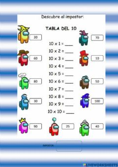 Interactive worksheet Tabla del 10