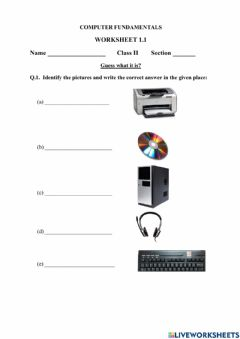 Interactive worksheet Computer fundamental worksheet