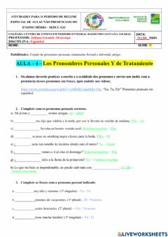 Interactive worksheet Atividade - Pronombre Personale