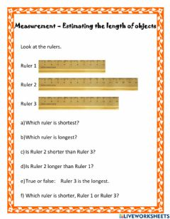 Interactive worksheet Measurement - Estimating the length of objects