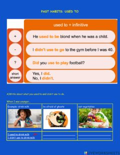 Interactive worksheet Used to Past Habits