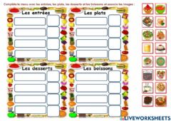 Interactive worksheet Le menu