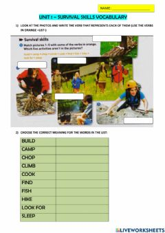 Interactive worksheet Survival vocabulary-part 1