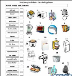 Interactive worksheet Electrical appliance at home 1