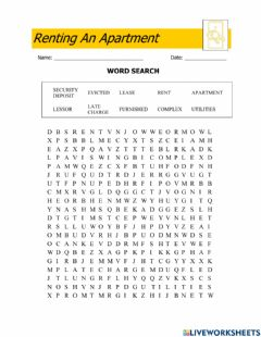Ficha interactiva Renting an apartment-wordsearch