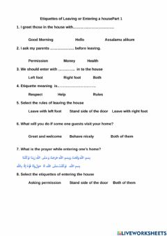 Interactive worksheet Etiquette of leaving or entering a house