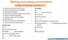 Interactive worksheet Starting and ending conversations