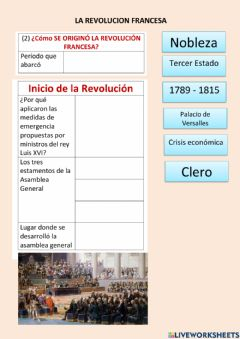 Interactive worksheet Revolución francesa