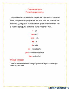 Interactive worksheet The pronouns
