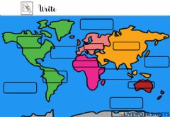 Interactive worksheet Write continents and oceans