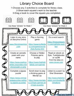 Interactive worksheet book fair choice board