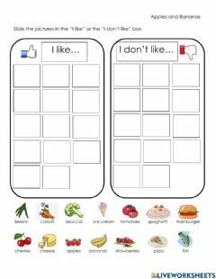 Interactive worksheet Apples and Bananas