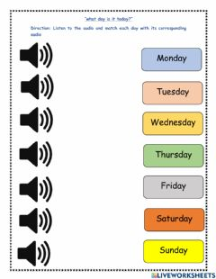 Interactive worksheet What day is it today?