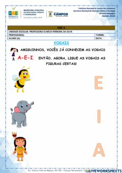 Interactive worksheet Vogais A, E, I