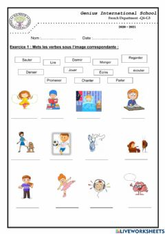 Interactive worksheet Les verbes d'actions