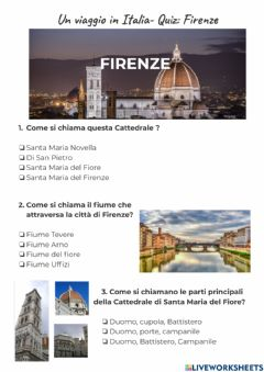 Interactive worksheet QUIZ -Un viaggio in Italia: Firenze