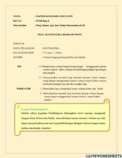 Interactive worksheet Volume bangun ruang