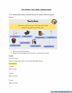 Interactive worksheet Switches