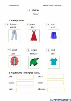 Interactive worksheet Clothes-riided