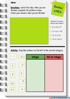 Interactive worksheet Review: What are Integers?