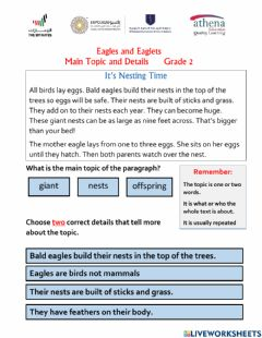 Interactive worksheet Eagles and Eaglets - Main Topic and Details
