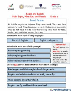 Interactive worksheet Eagles and Eaglets -Topic,  Main Idea and Details