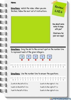 Interactive worksheet Review: Integers and the Number Line
