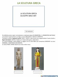 Interactive worksheet Scultura greca