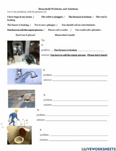 Interactive worksheet Household Problems and Solutions - Skill Using