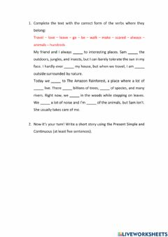 Interactive worksheet Present Simple vs Continuous