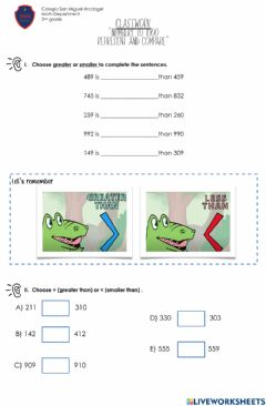Interactive worksheet CW Represent and compare numbers to 1000
