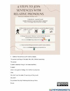 Interactive worksheet Combine the sentences with relative pronouns